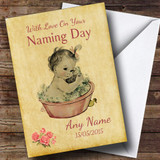 Pretty Vintage Baby Girl Customised Naming Day Card