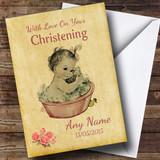 Pretty Vintage Baby Girl Customised Christening Card