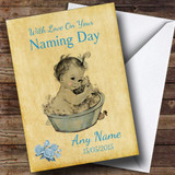 Pretty Vintage Baby Boy Customised Naming Day Card