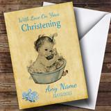 Pretty Vintage Baby Boy Customised Christening Card