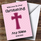 Pink Polka dot Cross Customised Christening Card