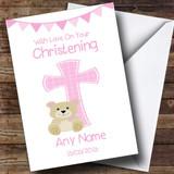 Girls Dedication Pink Cross Customised Christening Card