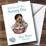 Cute Vintage Black Baby Boy Customised Naming Day Card