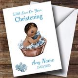 Cute Vintage Black Baby Boy Customised Christening Card