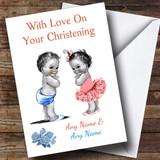 Cute Twin Boy & Girl Customised Christening Card