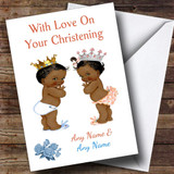 Cute Twin Black Boy & Girl Customised Christening Card