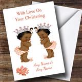Cute Twin Black Baby Girls Customised Christening Card