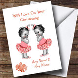 Cute Twin Baby Girls Customised Christening Card