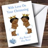 Cute Twin Baby Black Boys Customised Christening Card