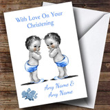 Cute Baby Twin Boys Customised Christening Card