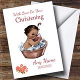 Cute Vintage Black Baby Girl Customised Christening Card