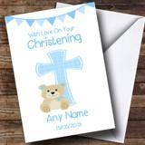 Boys Dedication Blue Cross Customised Christening Card