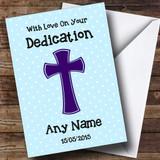 Blue Polka dot Cross Customised Dedication Card
