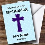 Blue Polka dot Cross Customised Christening Card