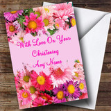 Flowers Customised Christening Card