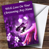Purple Butterfly Customised Christening Card