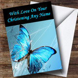 Blue Butterfly Customised Christening Card