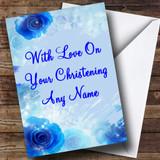 Blue Customised Christening Card