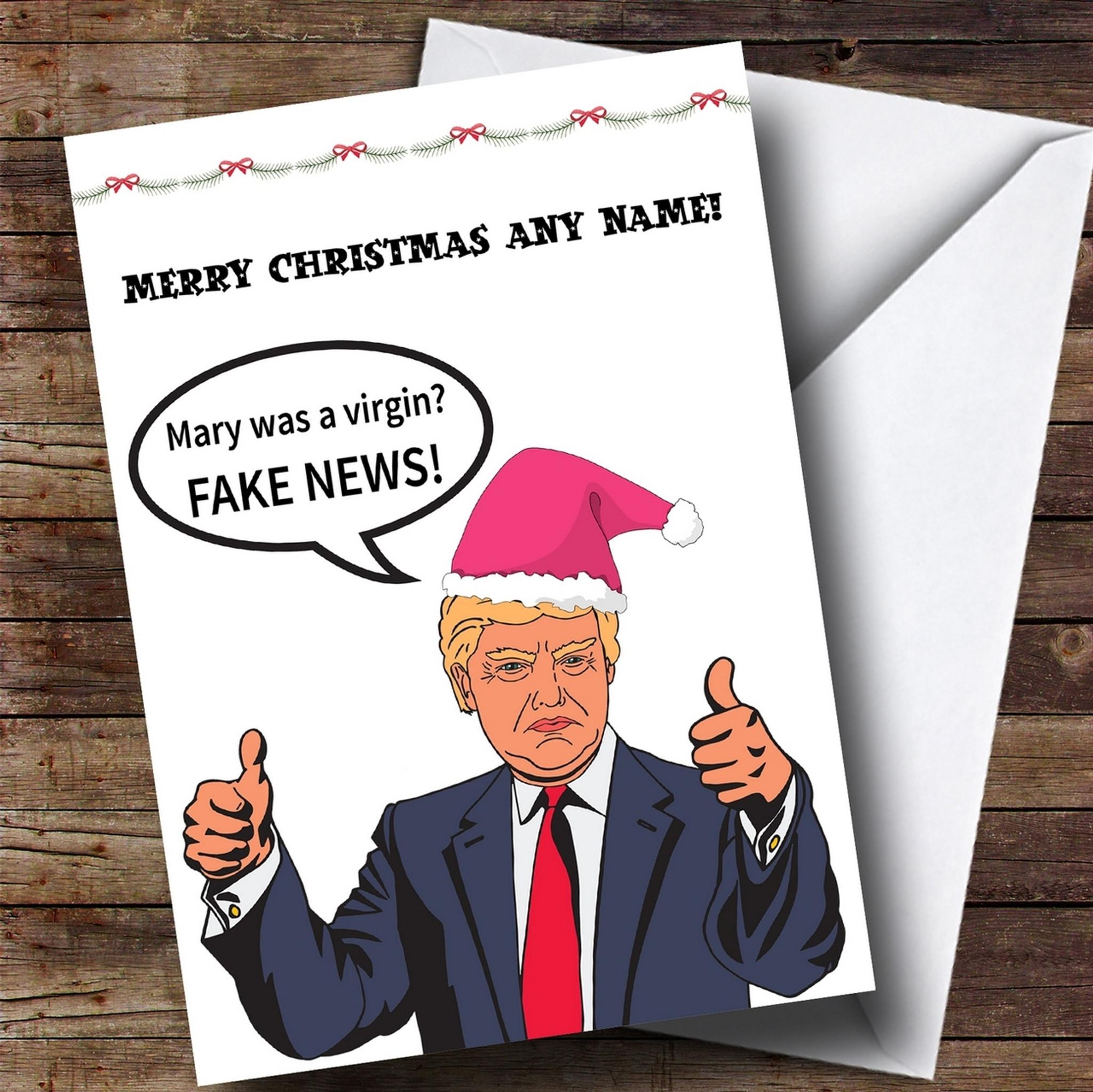 Christmas Trump Funny.Funny Donald Trump Fake News Customised Christmas Card