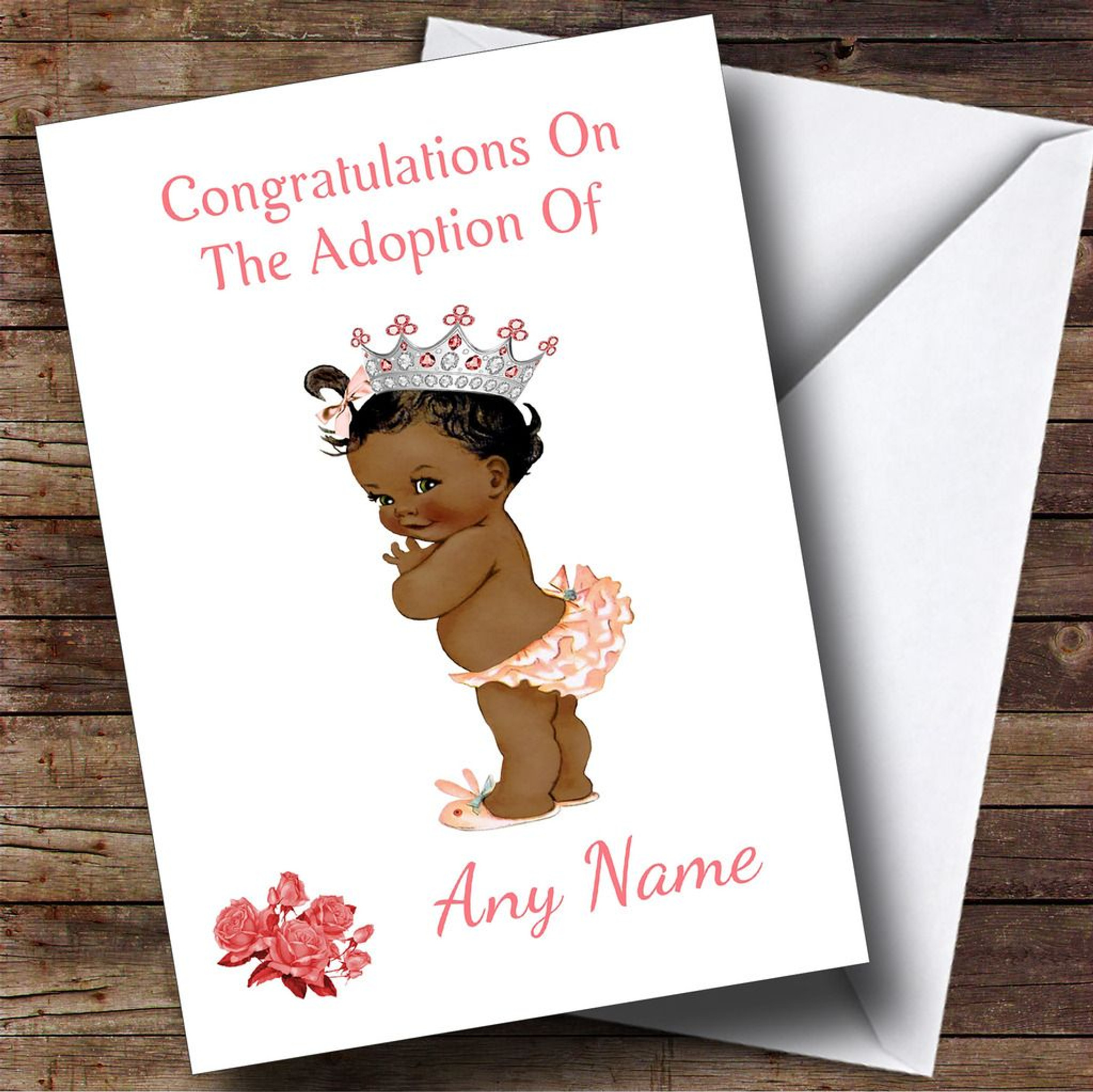 Adoption Congratulations Adopting A Girl Daughter Black Personalised Card
