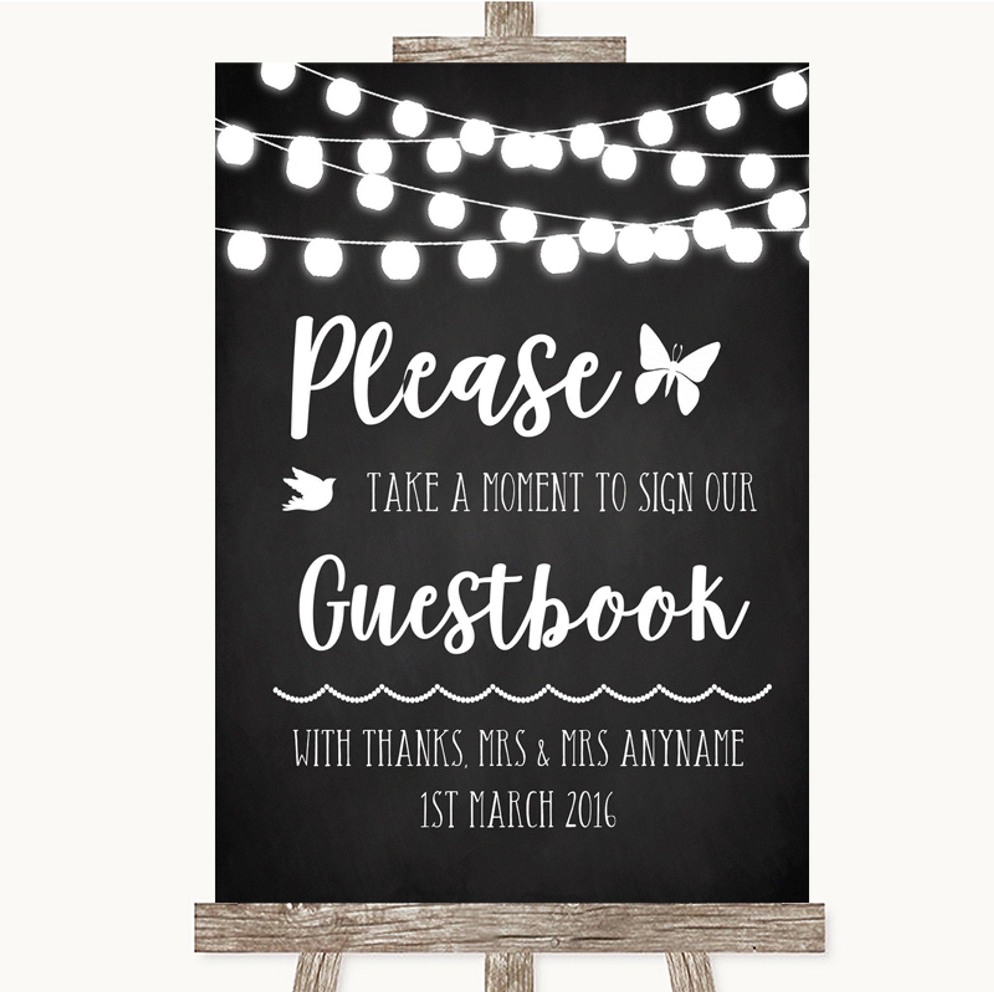Chalk Style Black White Lights Take A Moment To Sign Our Guest Book Wedding Sign