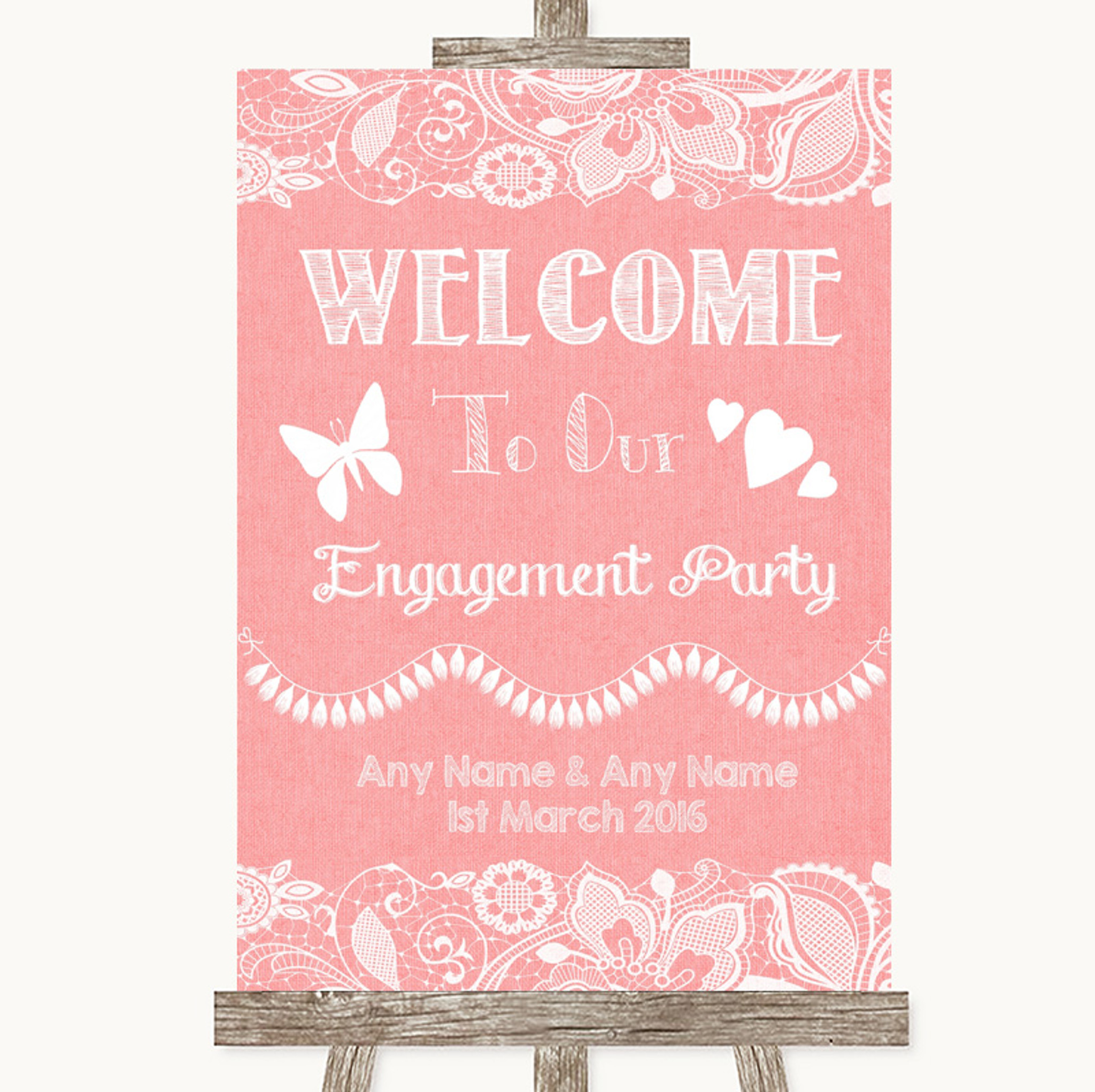 Dark Grey Burlap /& Lace Welcome To Our Engagement Party Wedding Sign
