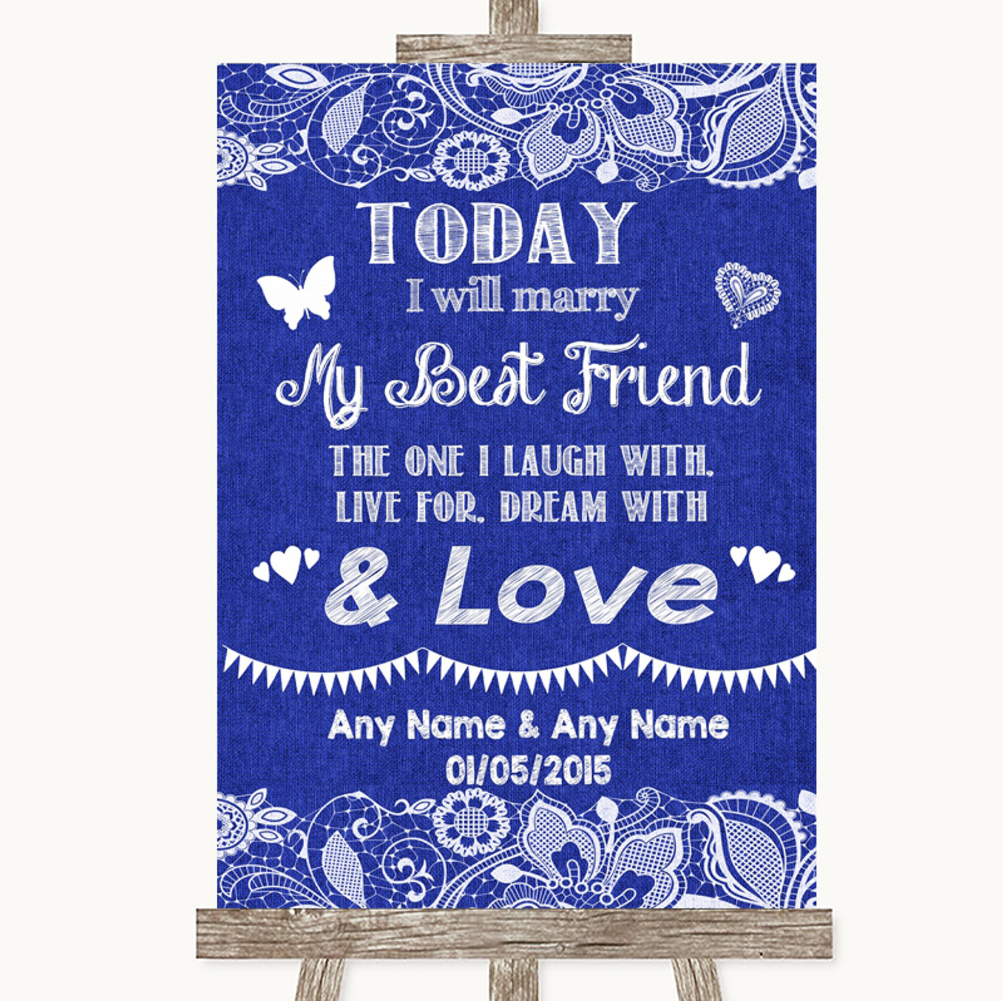 Wedding Sign Poster Print Grey Burlap /& Lace Today I Marry My Best Friend