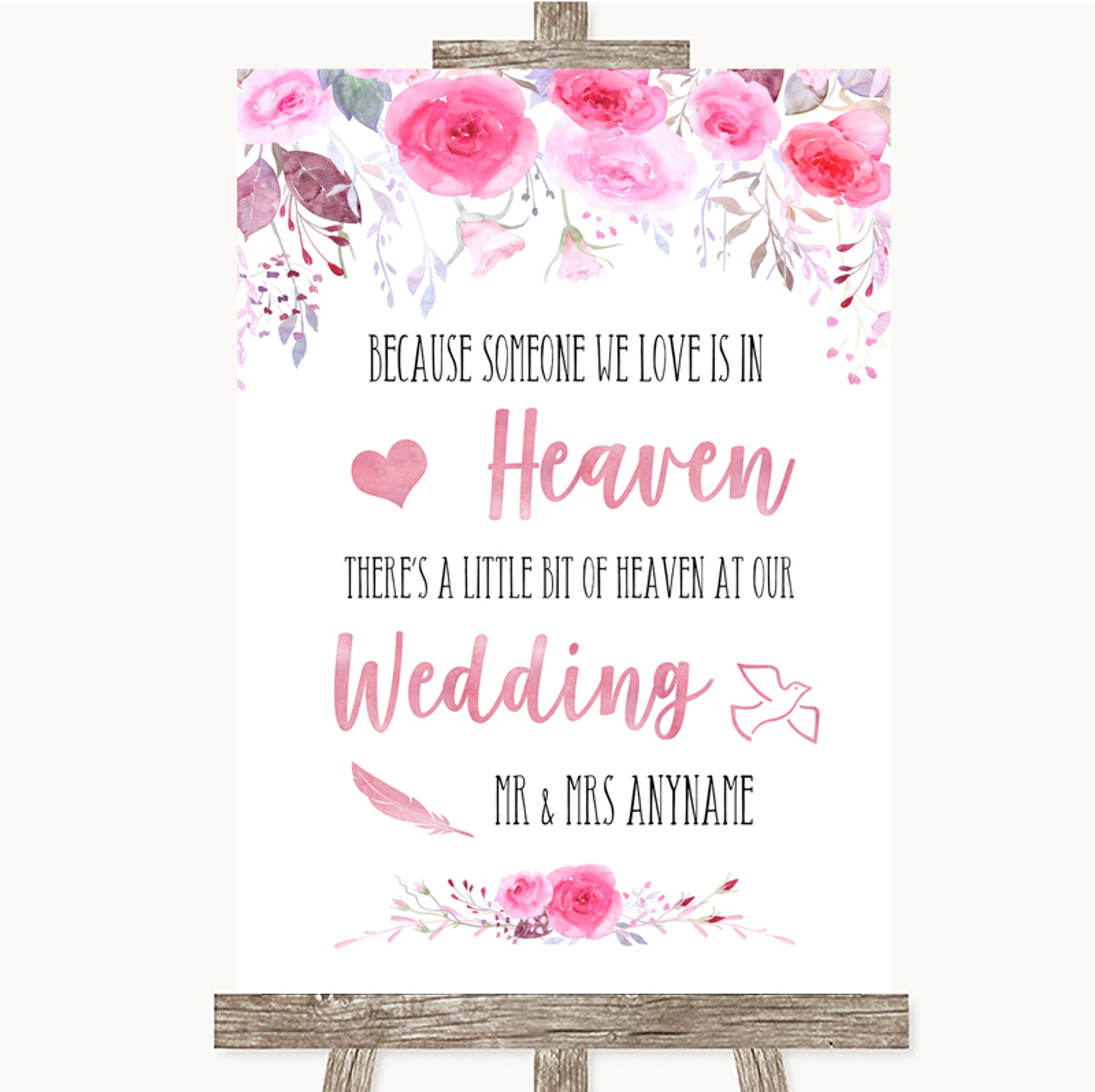 Pink Watercolour Floral Heaven Loved Ones Personalised Wedding Sign