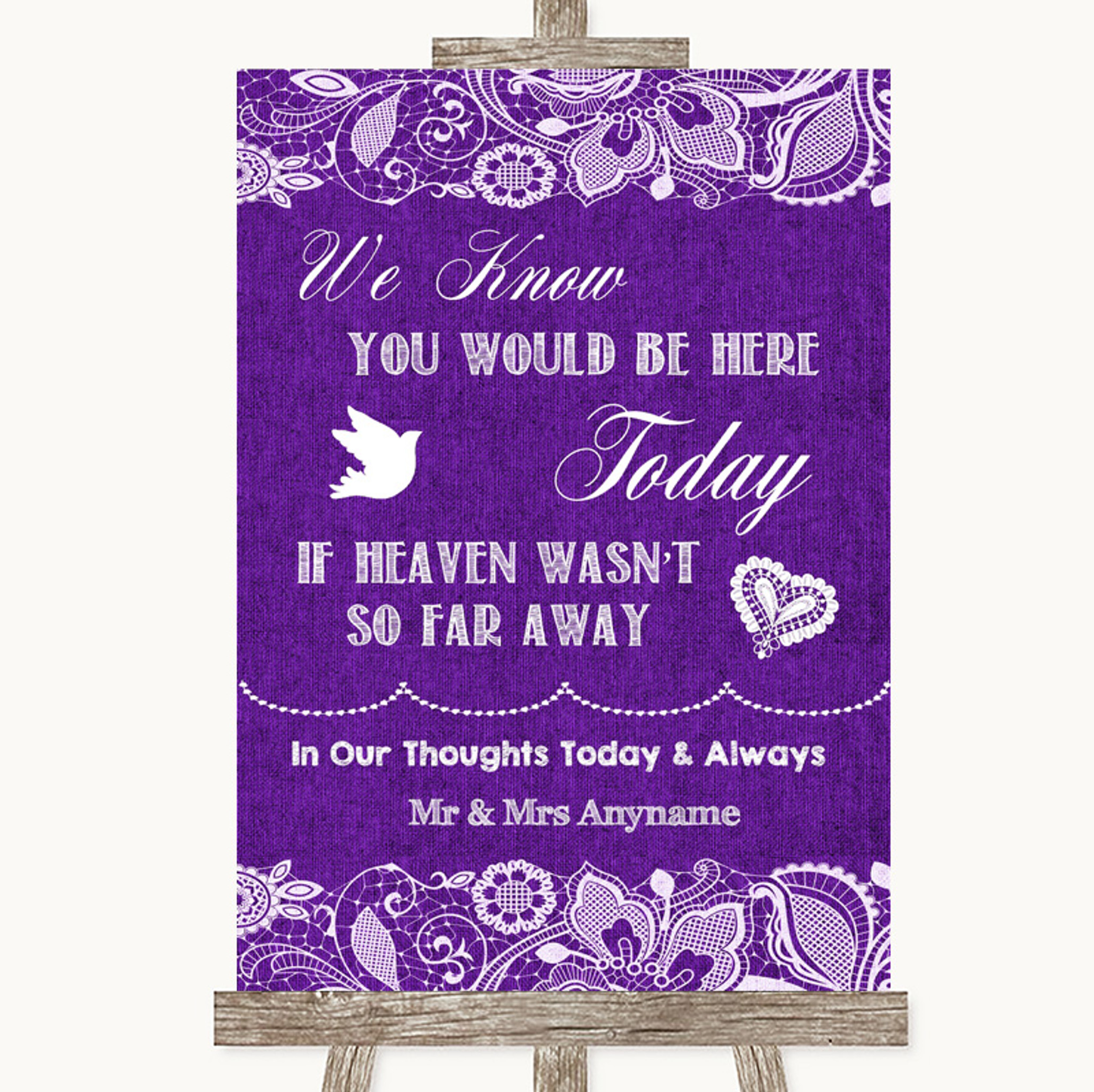 Lilac Burlap /& Lace Loved Ones In Heaven Personalised Wedding Sign