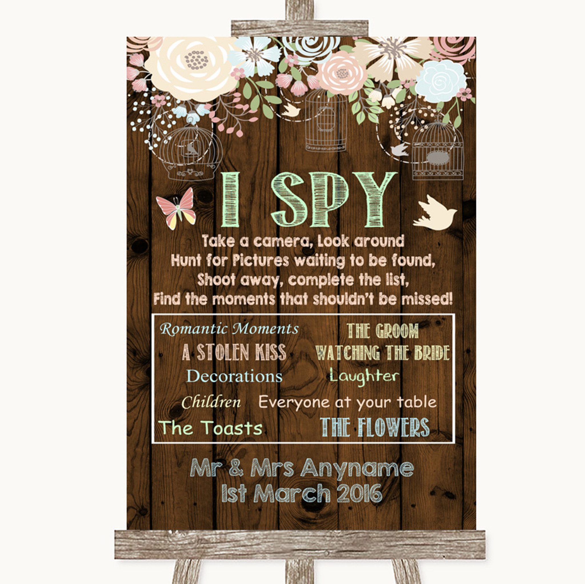 Poster Black And White I Spy Take A Photo Personalised Wedding Sign