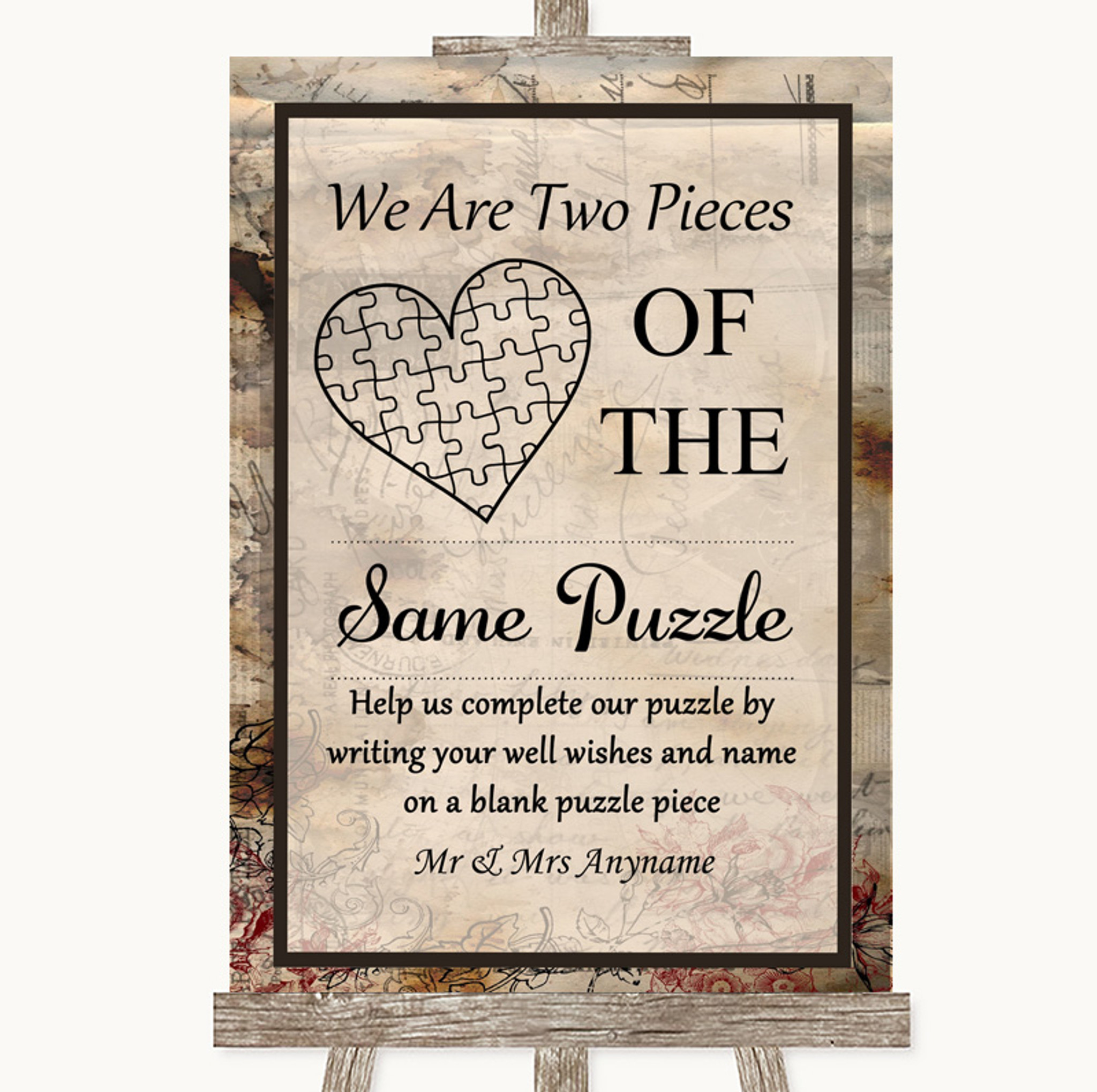 Shabby Chic Puzzle Guest Book Personalised Wedding Sign Poster