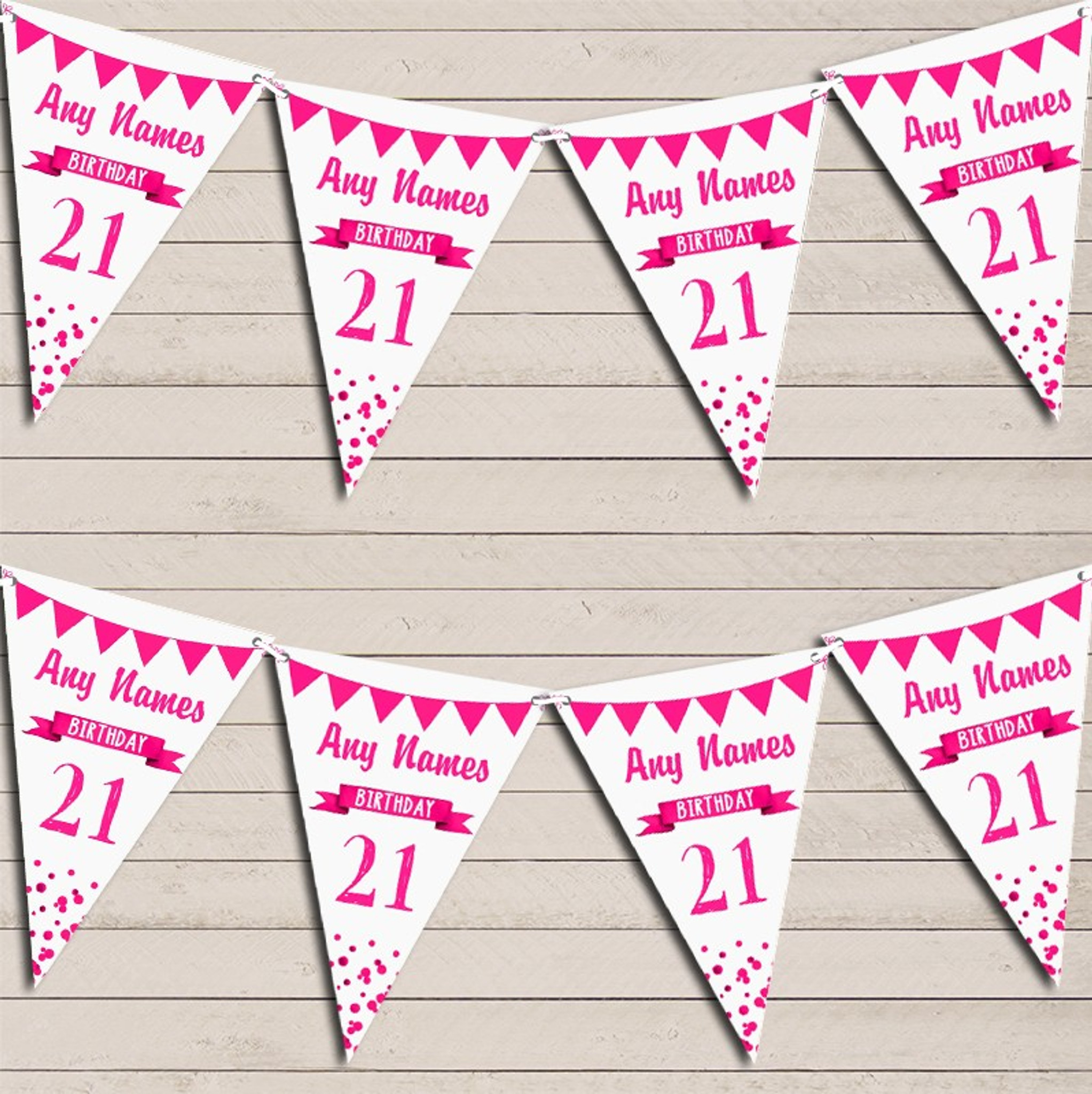 Leopard Print And Hot Pink Personalised Birthday Party Bunting