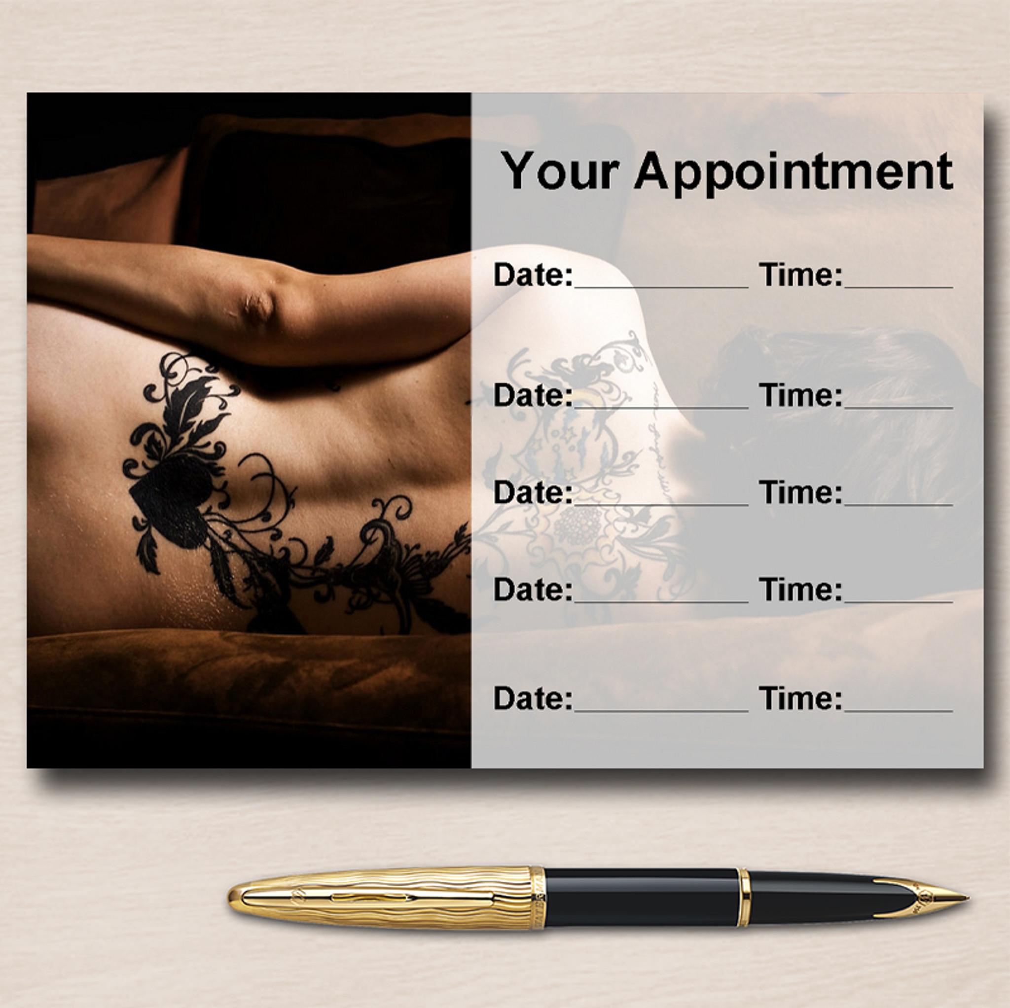 Tattoo Artist Studio Tattooist Personalised Appointment Cards