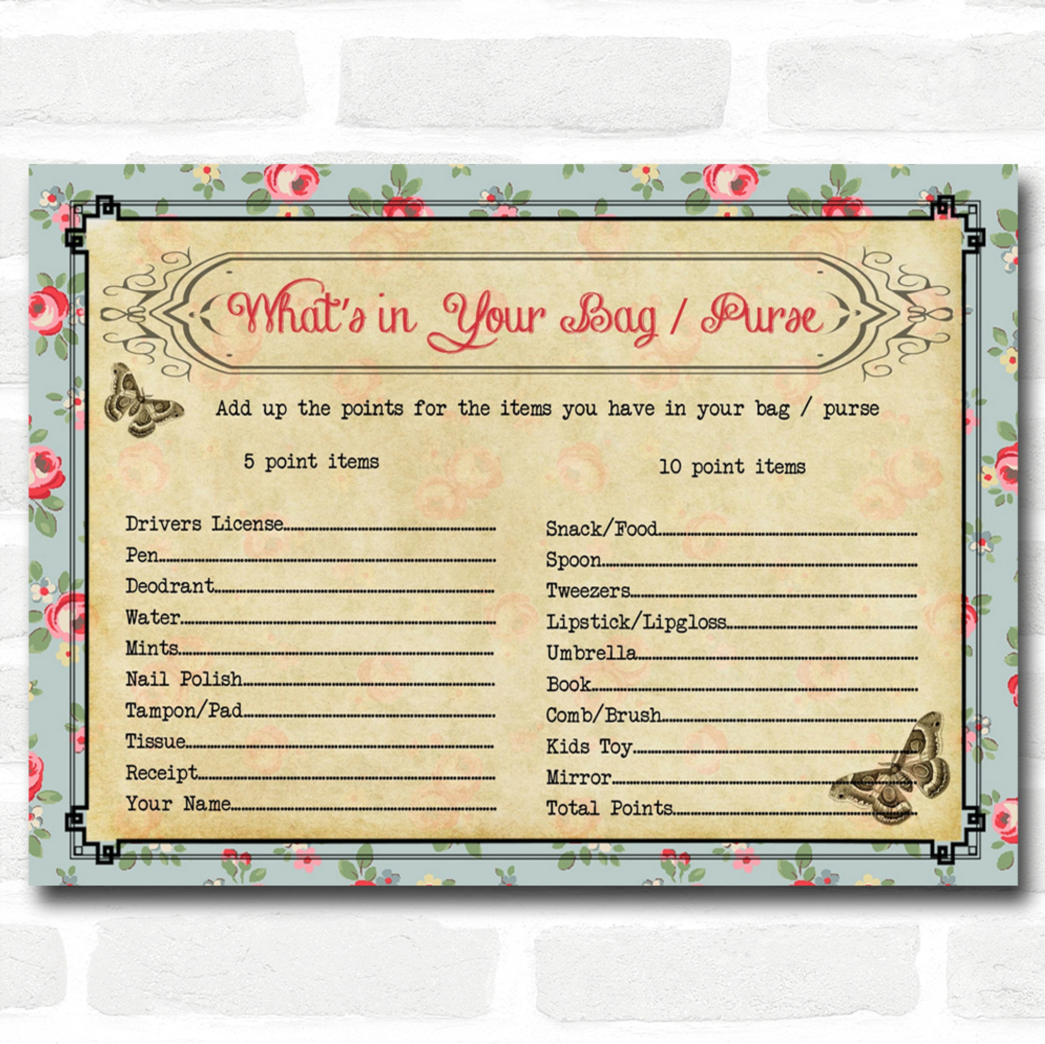 Shabby Chic Tea Party Baby Shower Games WhatÆs in Your Bag Purse Cards