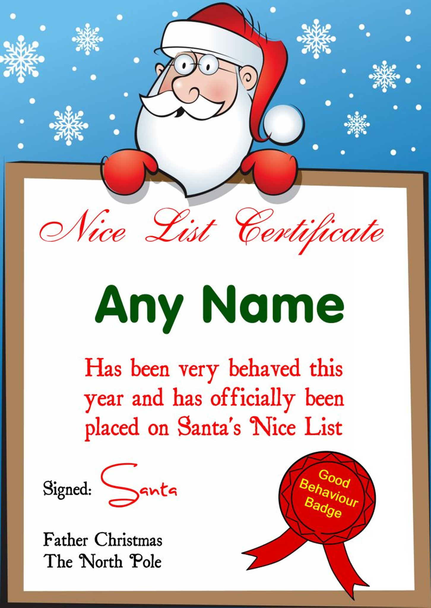 Blue Snowflakes Personalised Christmas Santa S Nice List Certificate Party Animal Print