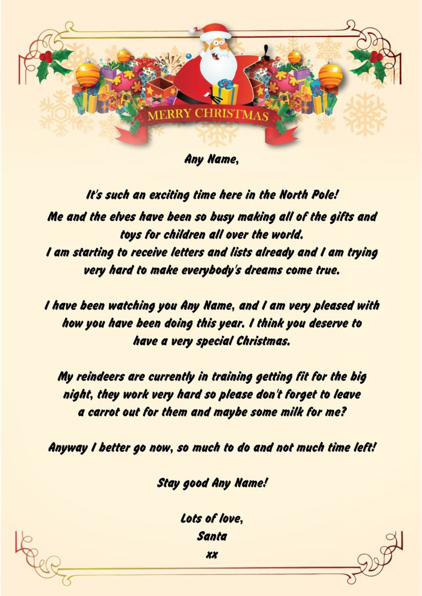Christmas Letters.Merry Personalised Christmas Letter From Santa Party