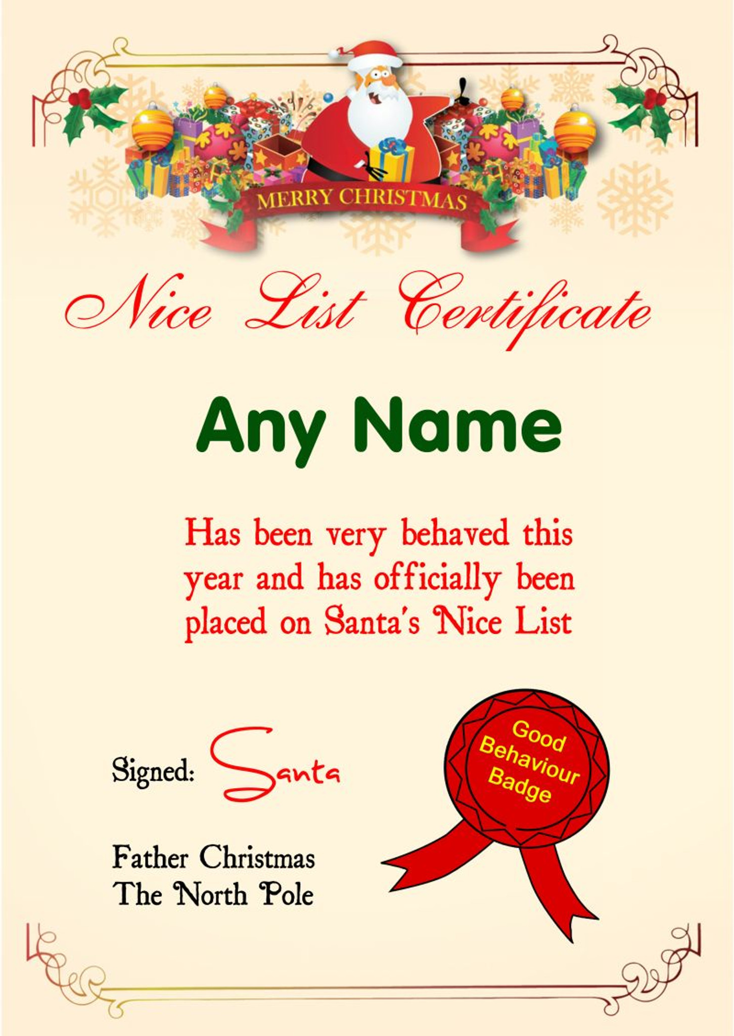 Merry Personalised Christmas Santa S Nice List Certificate Party Animal Print