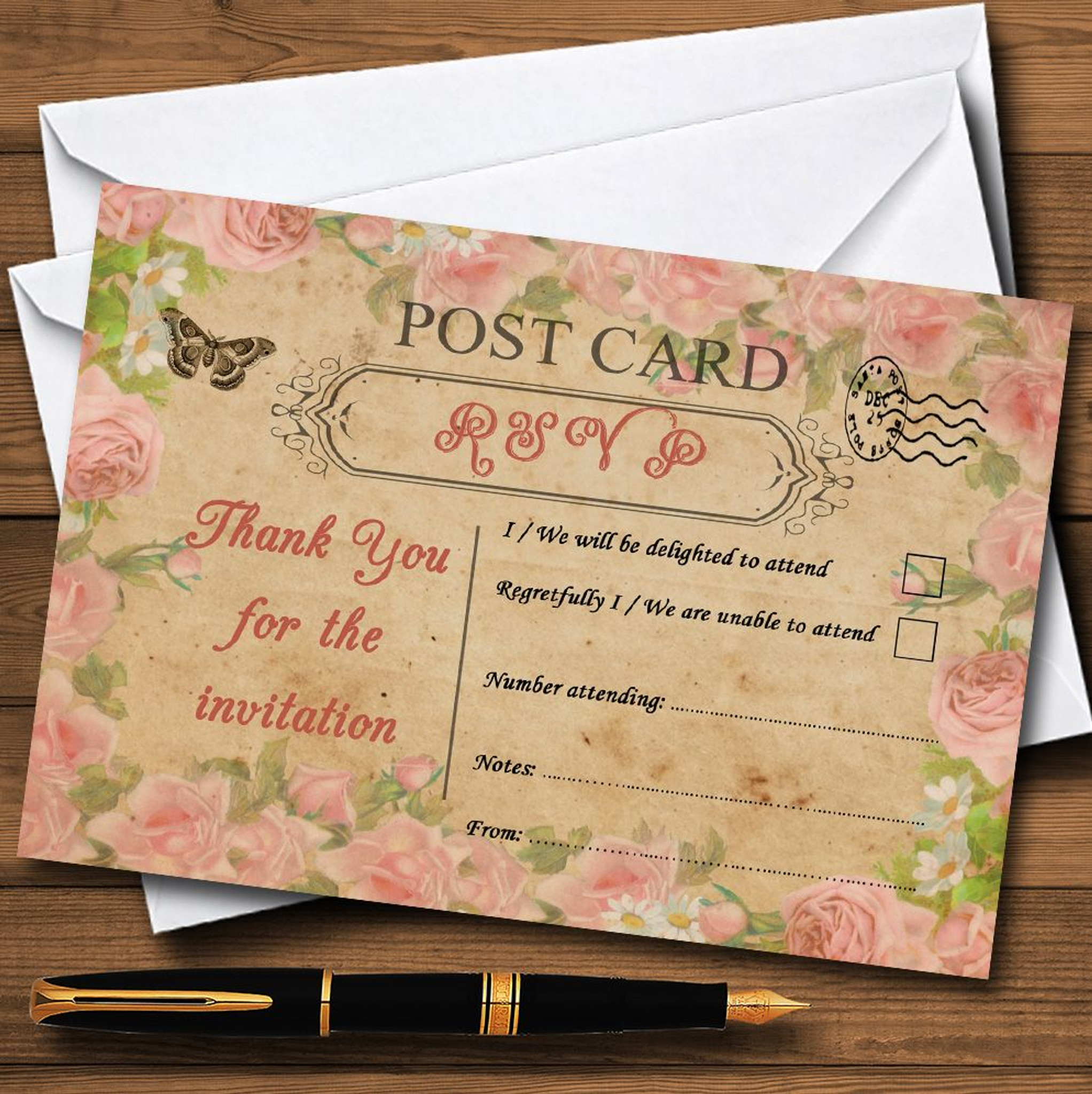Pink Rose Vintage Shabby Chic Postcard RSVP Cards - Party Animal Print