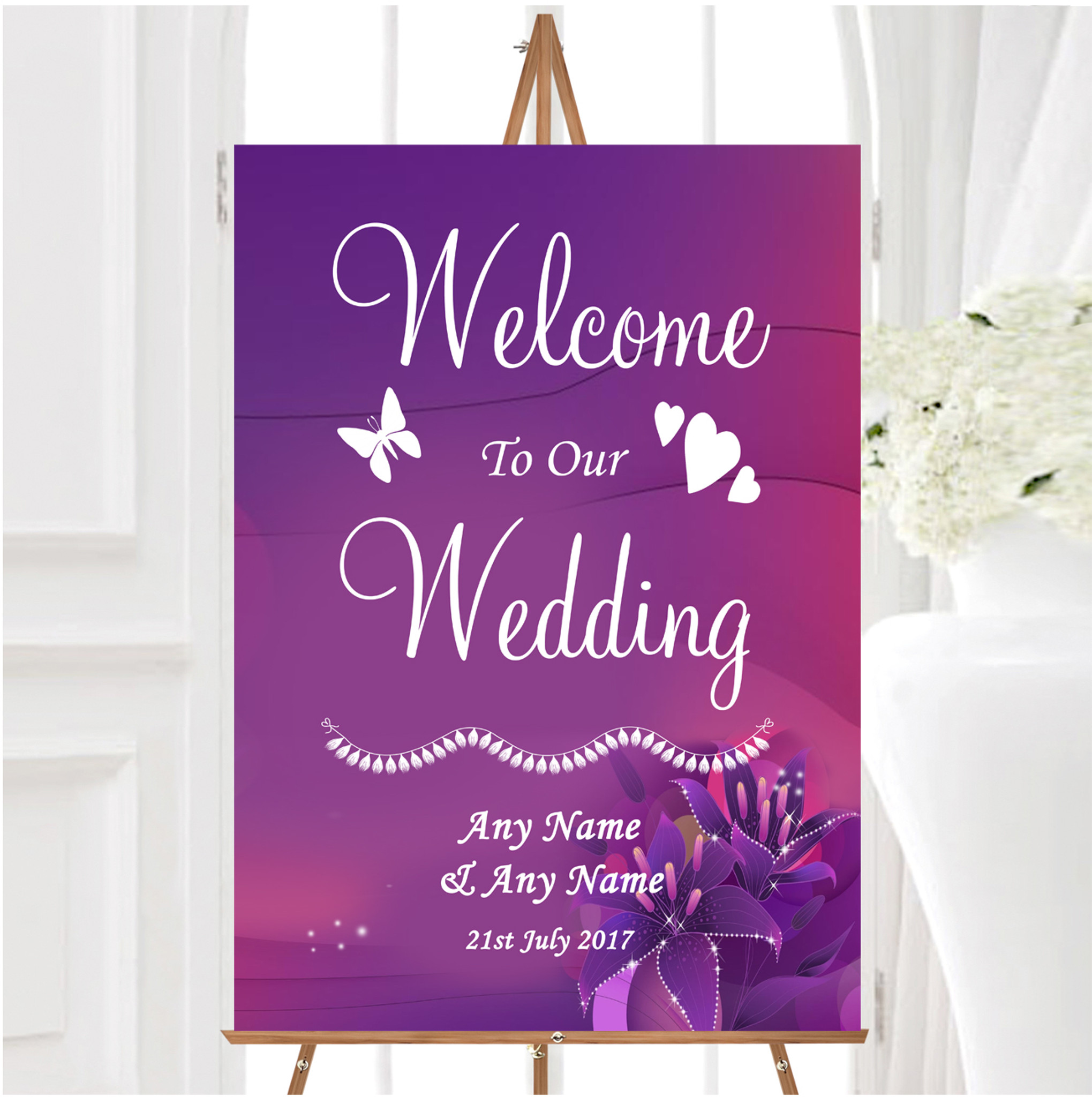 Welcome to the Christening Day Personalised Table Sign /& Poem Poster Pink Blue