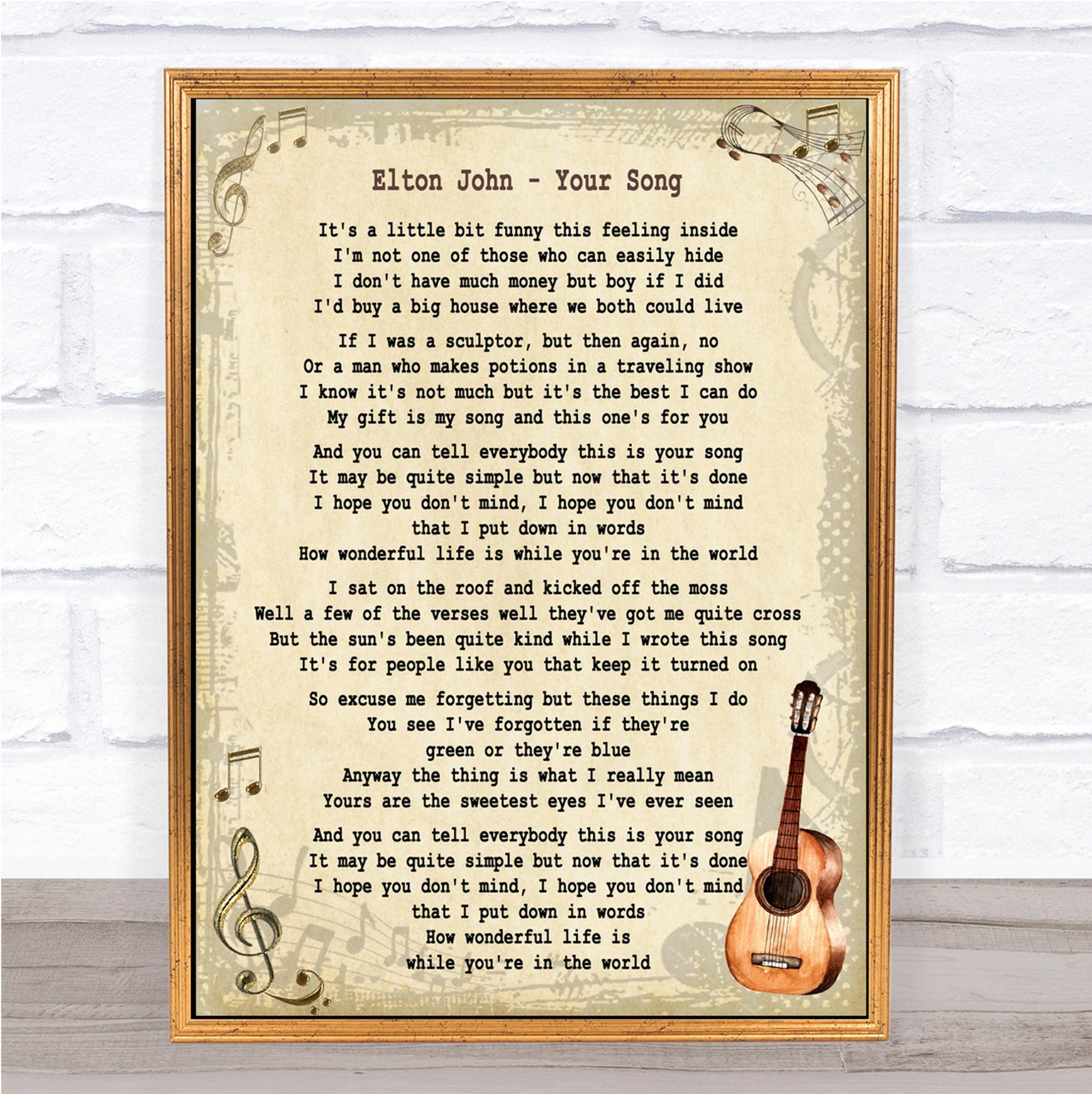 First Dance Elton John /'Your Song/' Personalised Framed Song Lyrics Heart Print