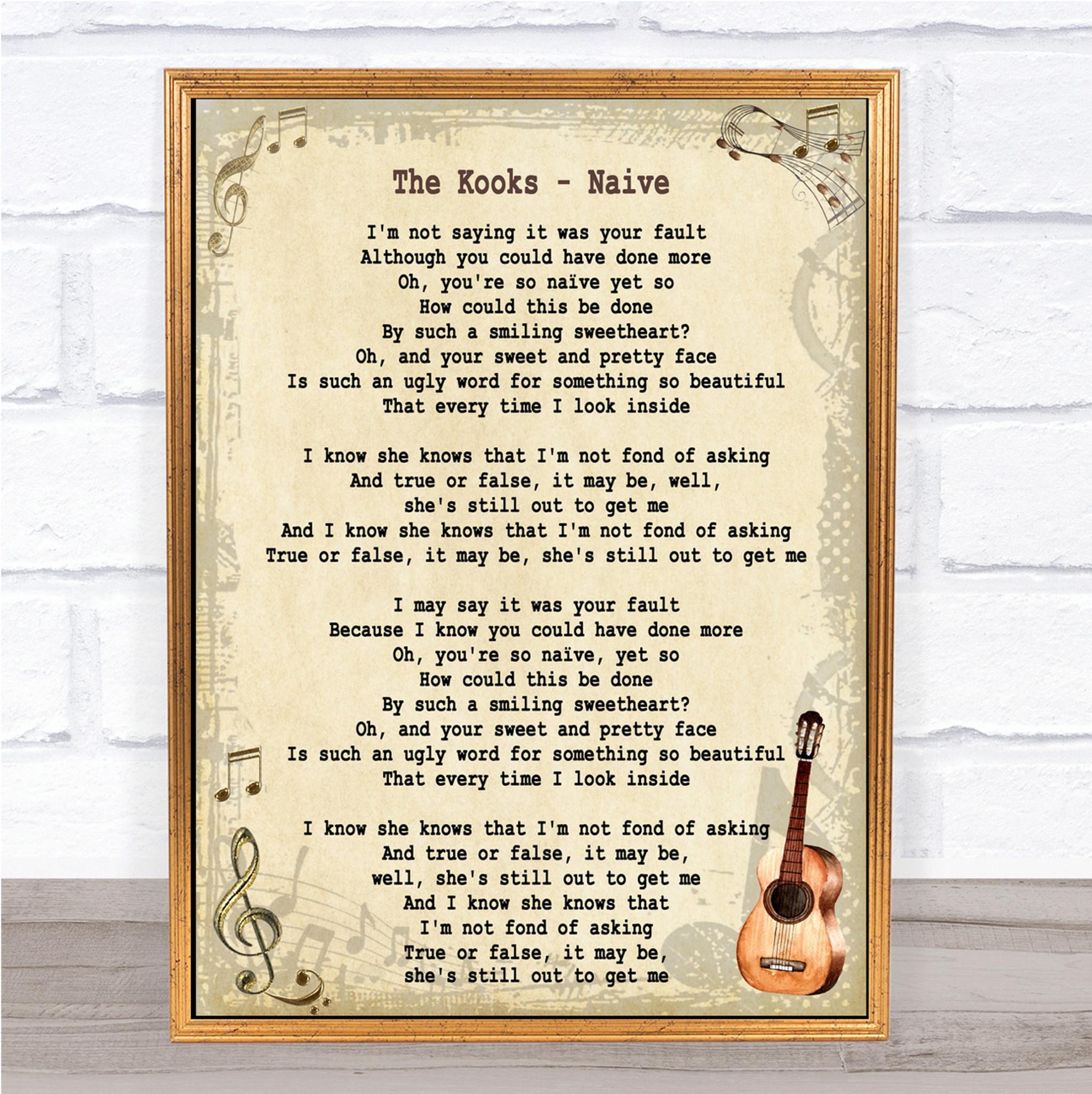 Naive Song Lyric Vintage Quote Print