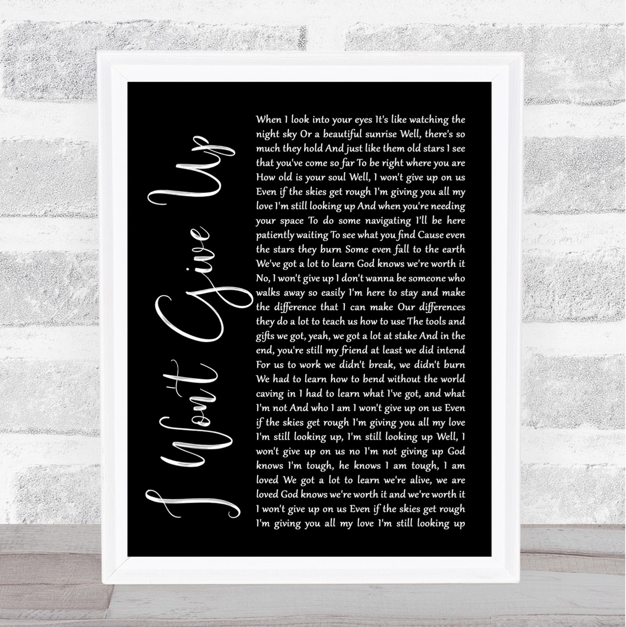 Jason Mraz I WON/'T GIVE UP Personalised Song Lyrics Print Valentine/'s Day Gift