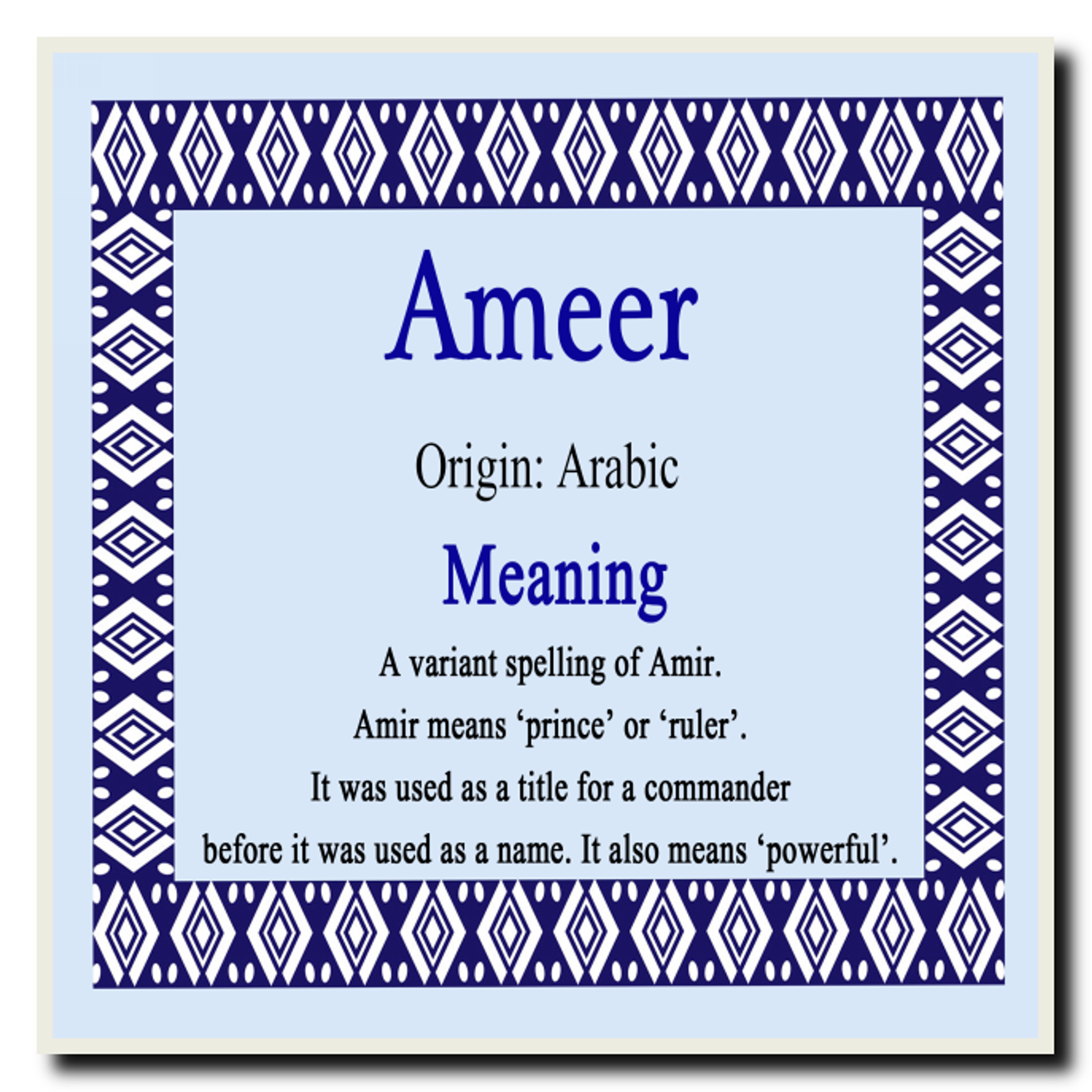 Ameer Personalised Name Meaning Placemat