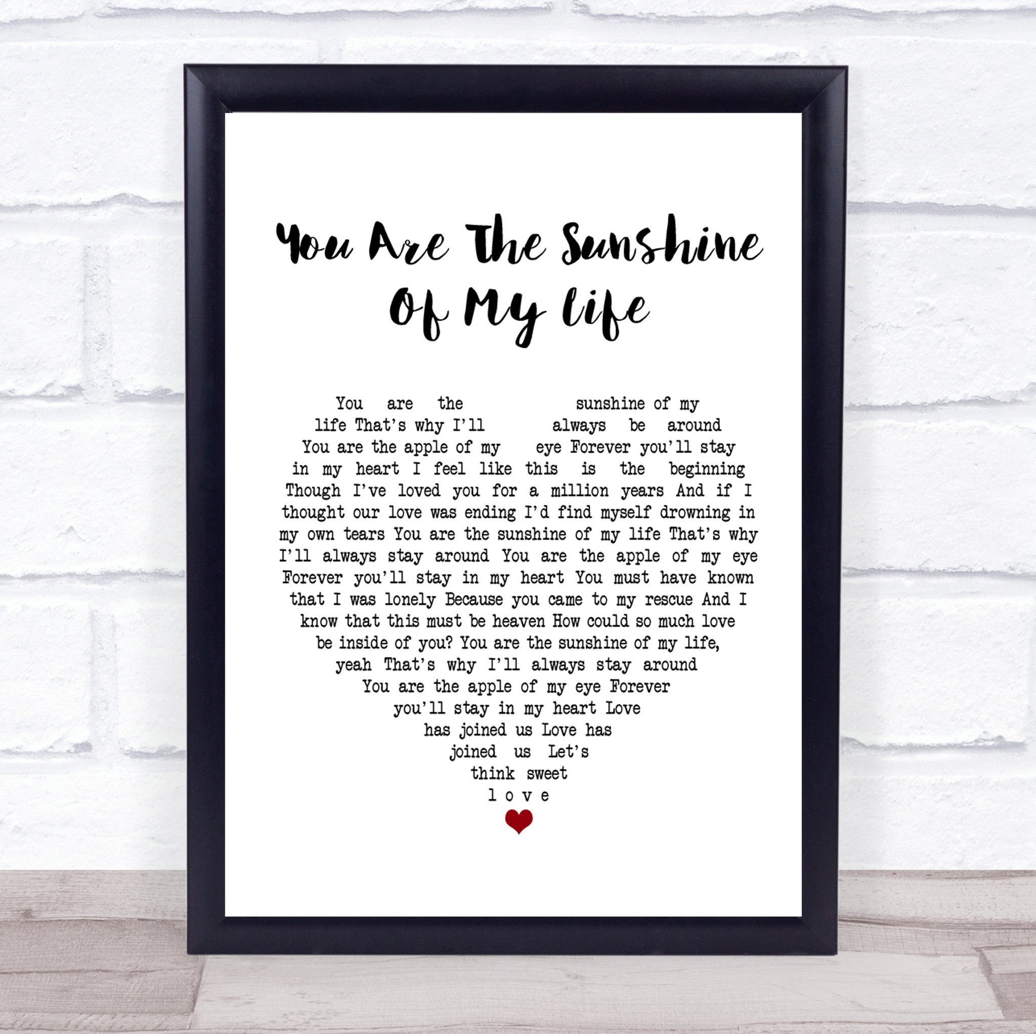 Stevie Wonder You Are The Sunshine Of My Life White Heart Song Lyric Music Gift Poster Print Party Animal Print