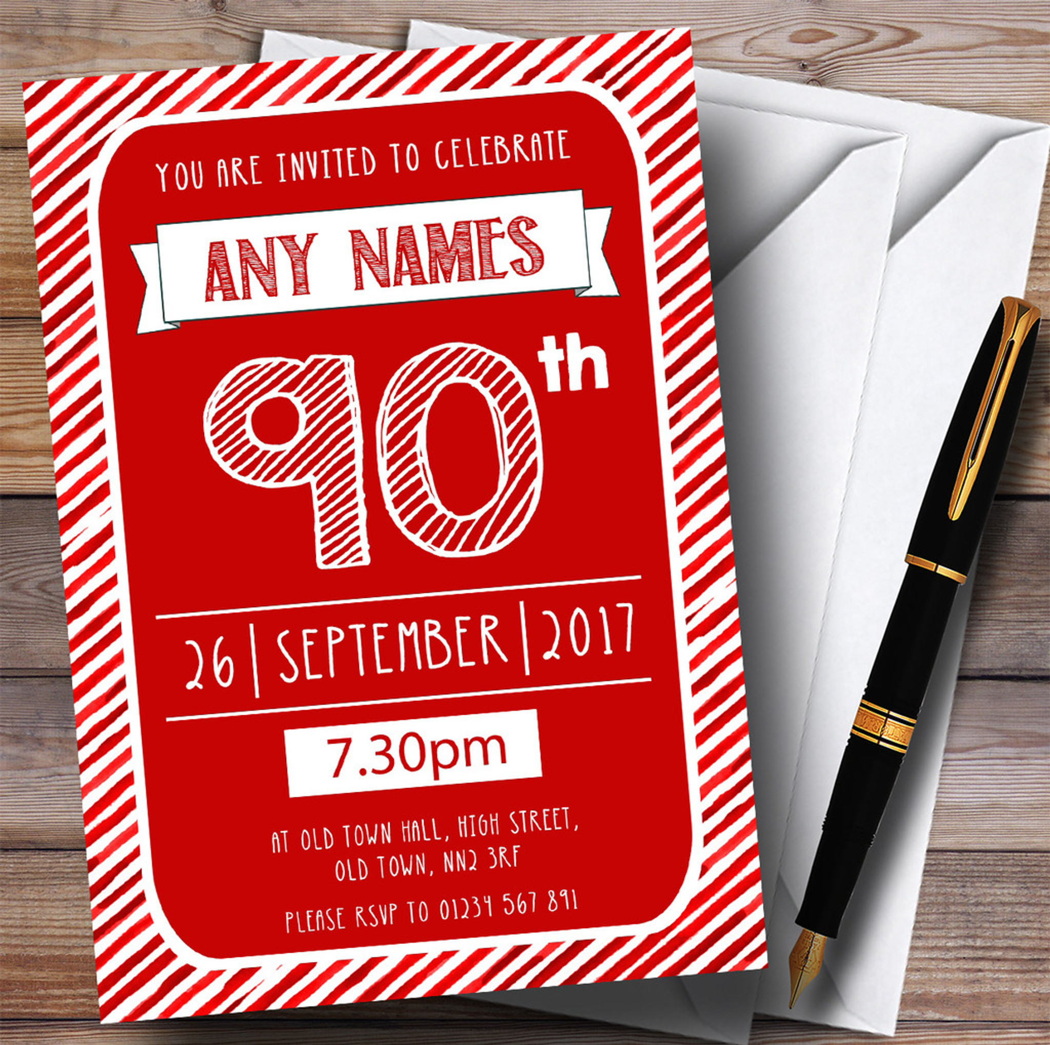Leopard Print Red Personalised Party Invitations