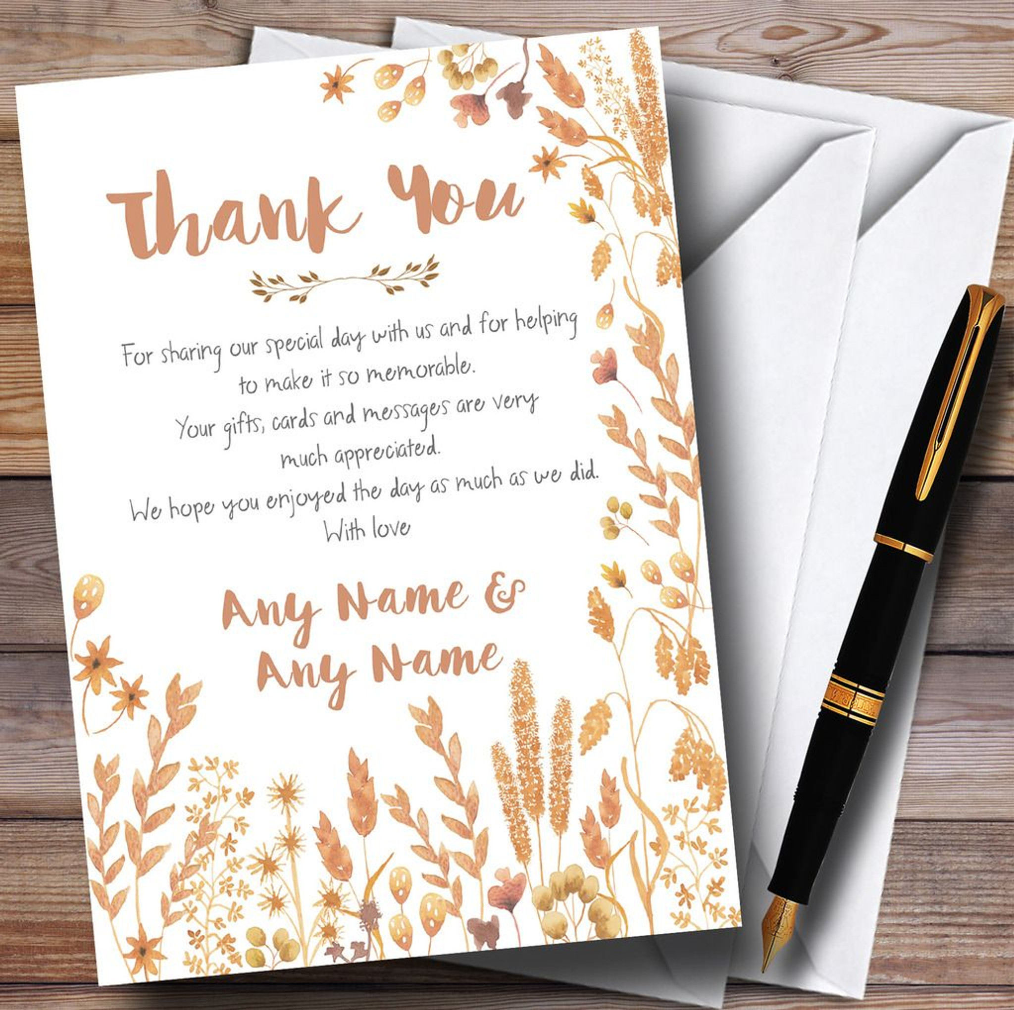 Vintage Autumn Leaves Watercolour Personalized Wedding Thank You Cards