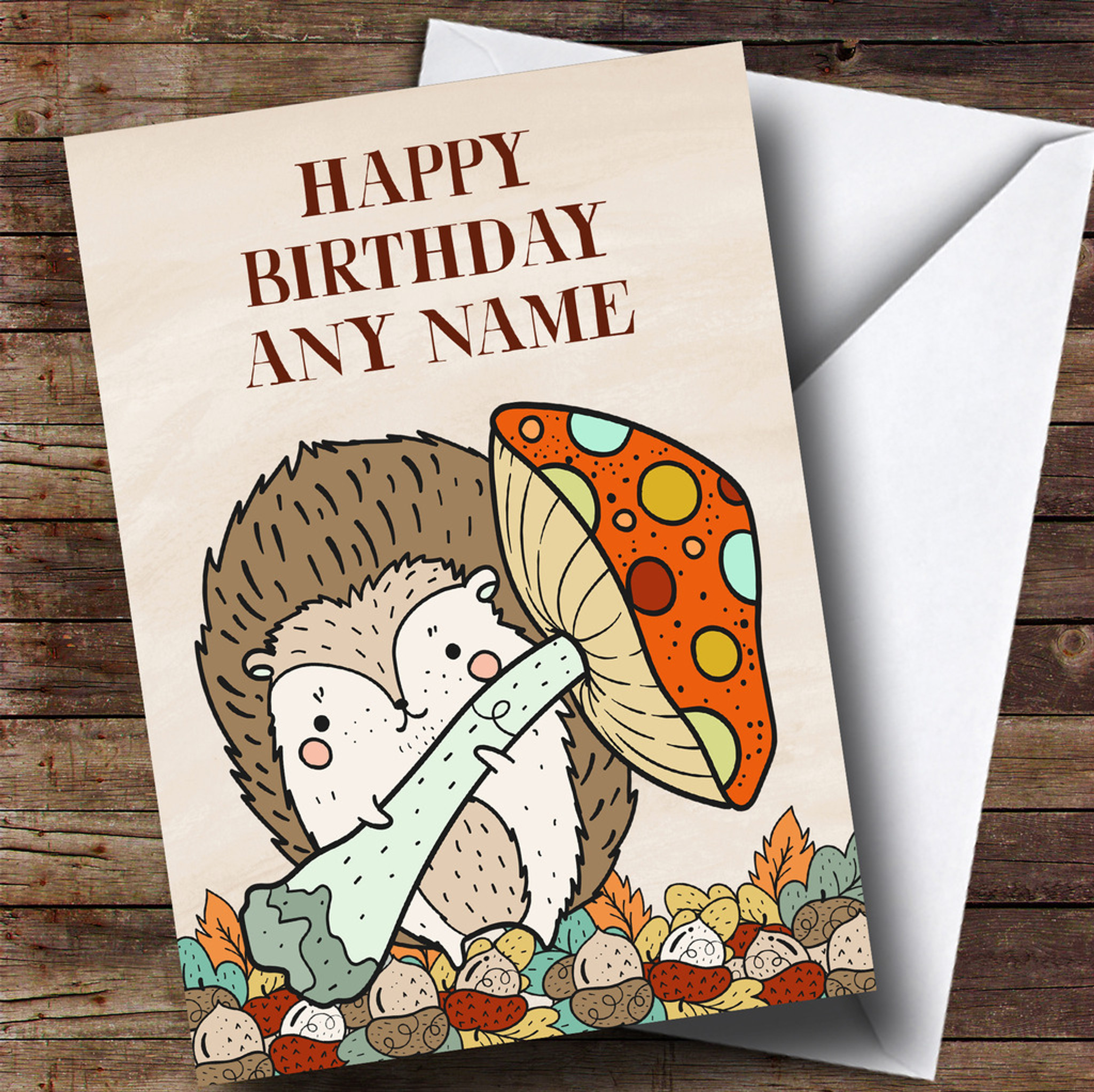 Hedgehog Cartoon Personalised Birthday Greetings Card