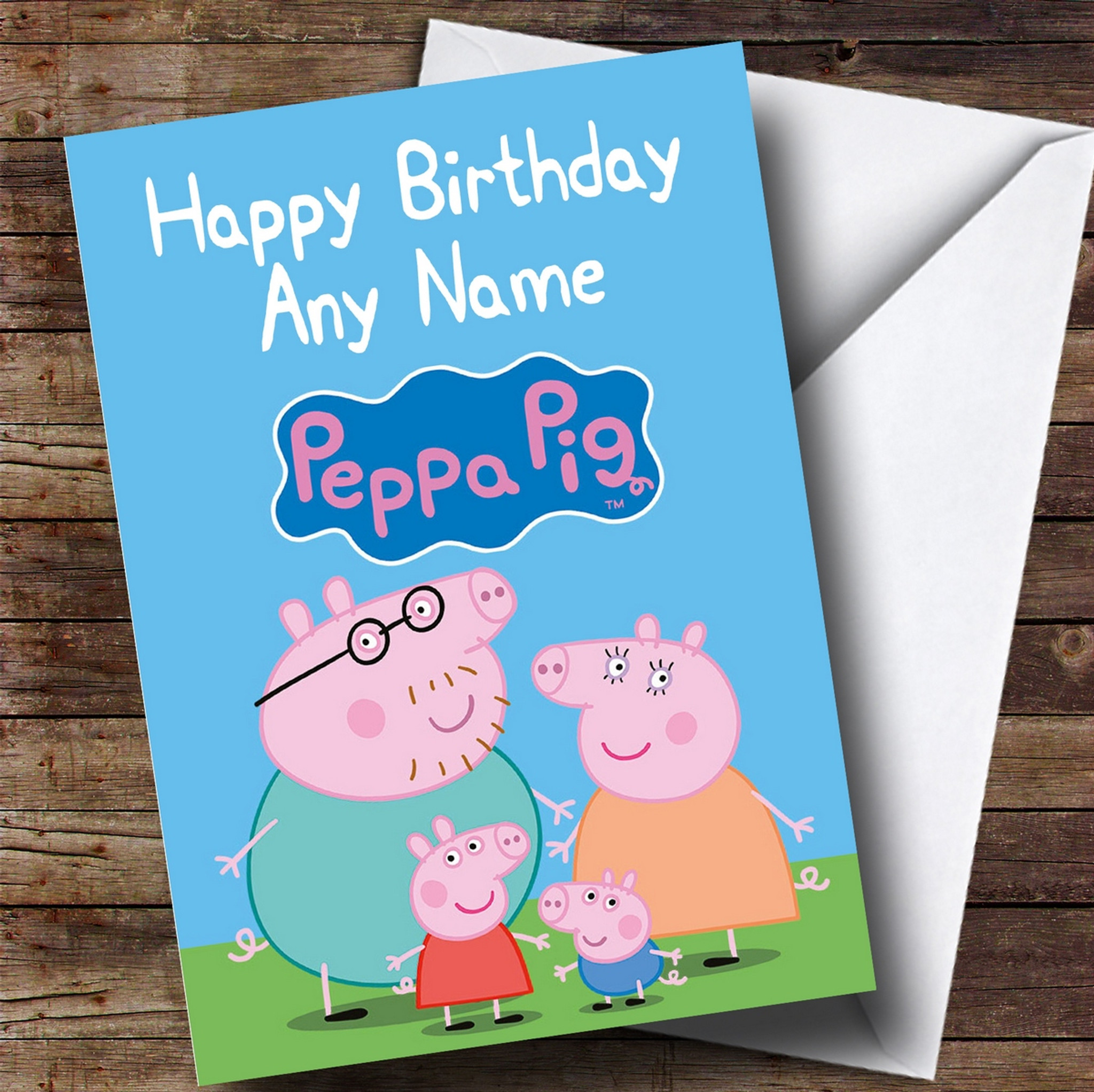 Peppa Pig Birthday Card Personalised Any Name Any Age