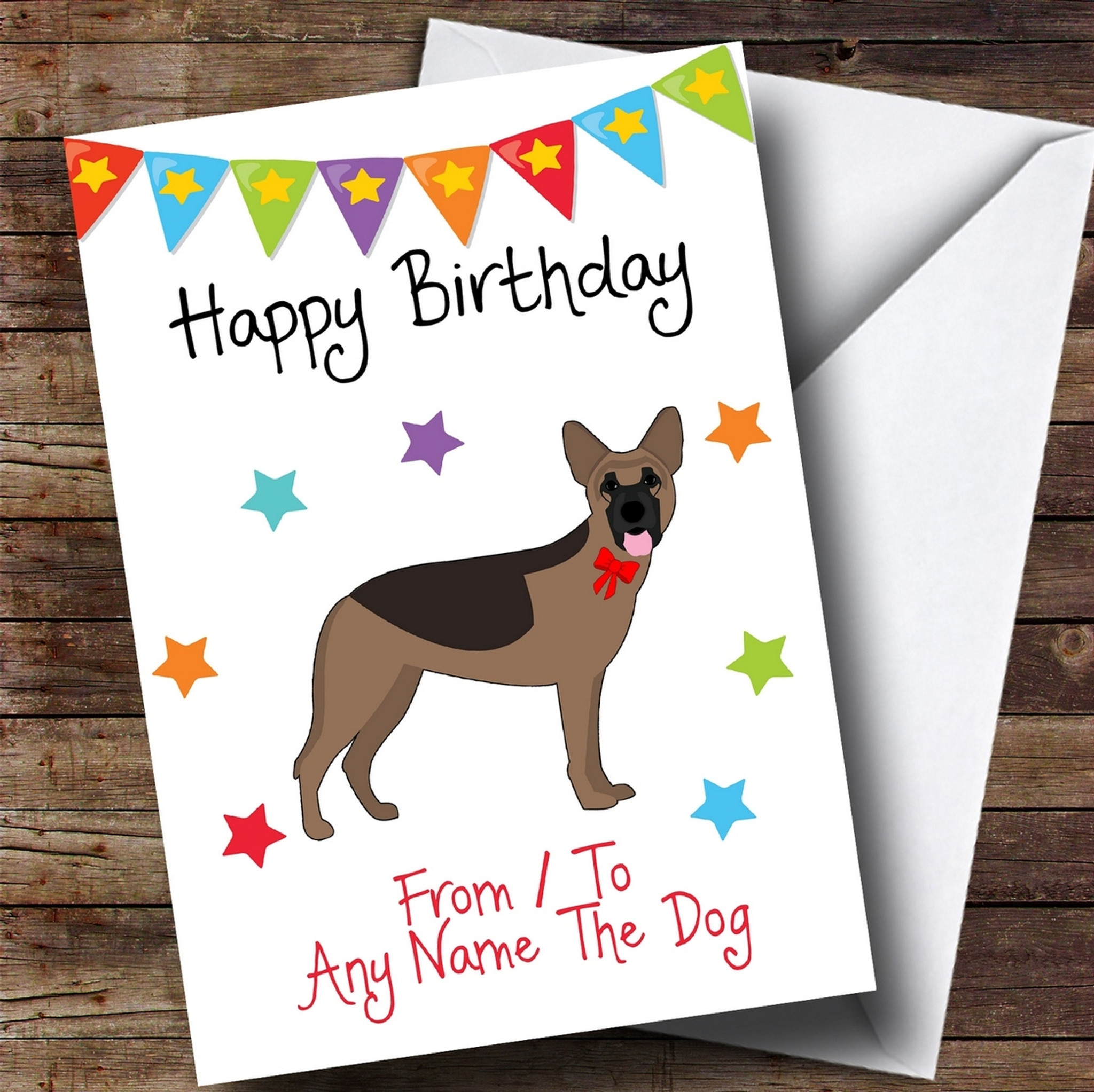 To From Pet Dog German Shepherd Customised Birthday Card