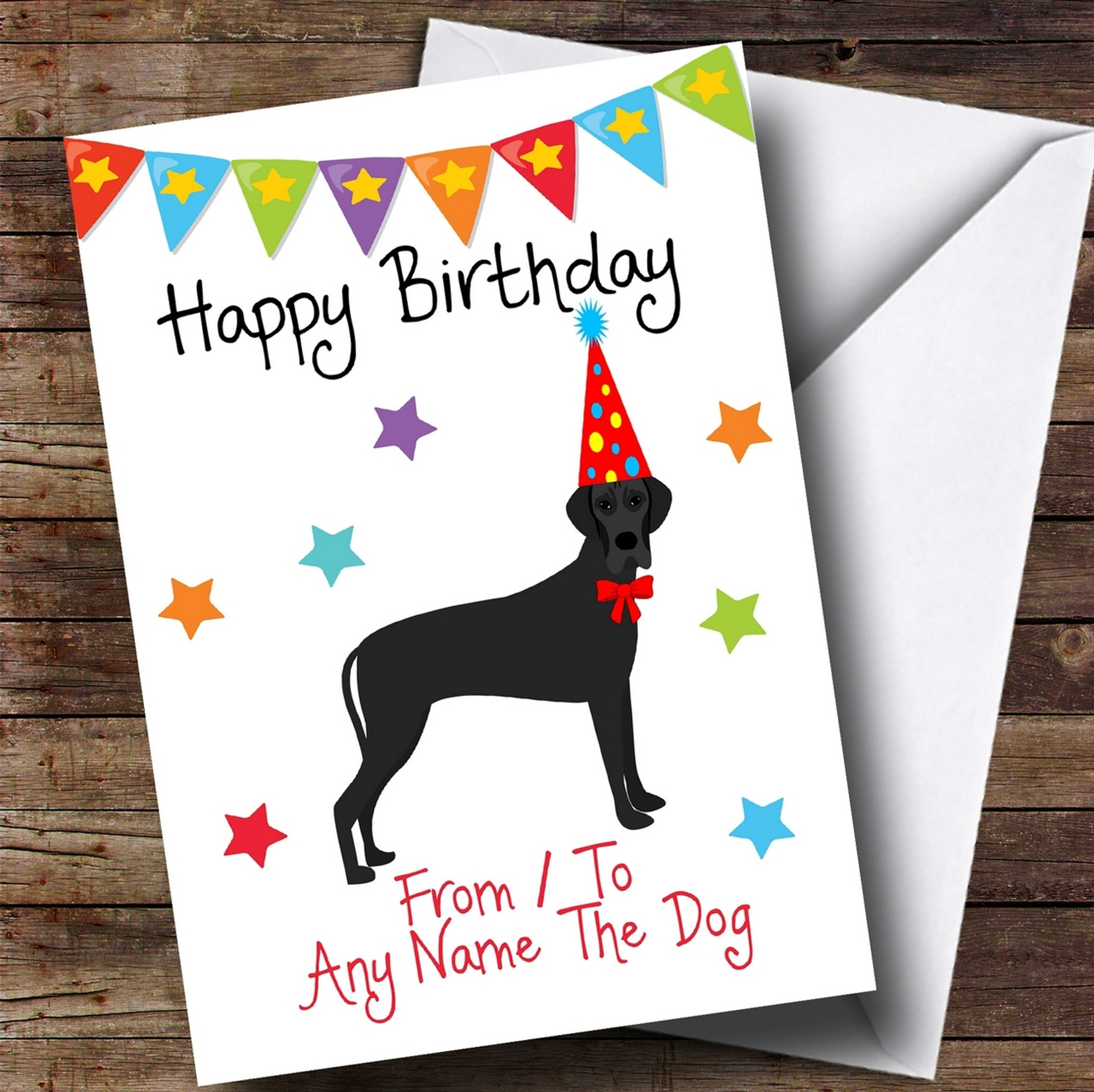 To From Pet Dog Great Dane Customised Birthday Card Party Animal